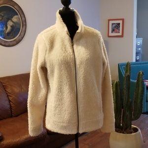 Jackets & Blazers - Womens fuzzy jacket..off white sz L